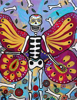 Mexican Painting - Winged Muertos by Pristine Cartera Turkus