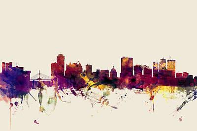 Canada Wall Art - Digital Art - Winnipeg Canada Skyline by Michael Tompsett