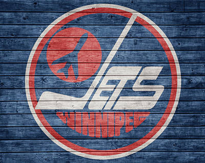 Mixed Media - Winnipeg Jets Barn Door by Dan Sproul