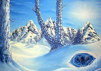 Snowscape Painting - Winter Blues by Joshua Bales