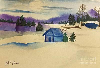 Winter Cabin Original by Maria Urso