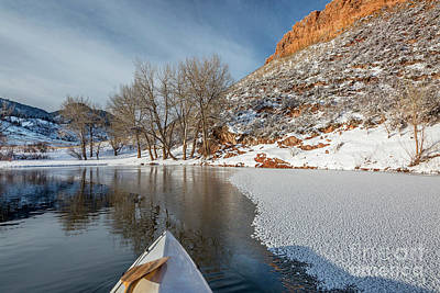 Photograph - winter canoe paddling in Colorado by Marek Uliasz