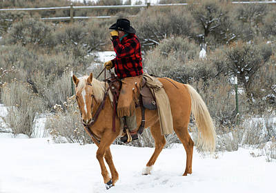 Horses Photograph - Winter Cowboy by Mike Dawson