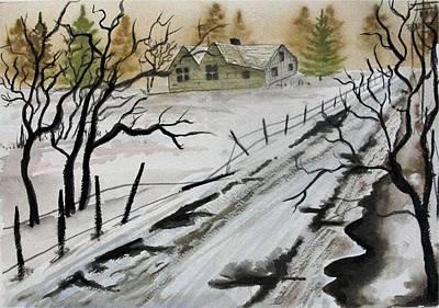 Winter Farmhouse Art Print by Jimmy Smith