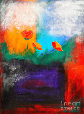 Colorful Abstract Mixed Media - Winter Flowers by Johane Amirault