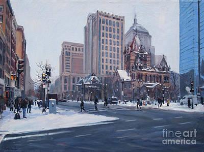 Boston Painting - Winter In Copley Square, Boston Ma by Deb Putnam
