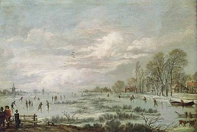 Snow Hockey Painting - Winter Landscape by Aert van der Neer