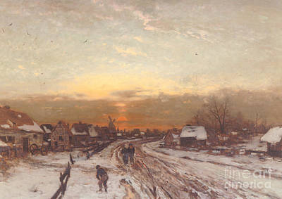 Winter Landscape At Sunset Art Print