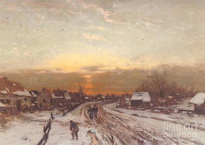 Winter Landscape At Sunset Art Print