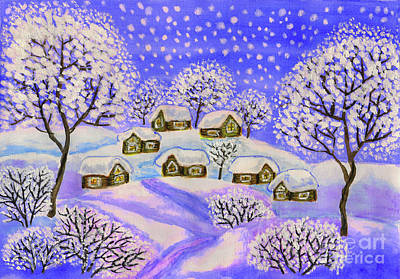 Painting - Winter Landscape In Blue Colours, Painting by Irina Afonskaya
