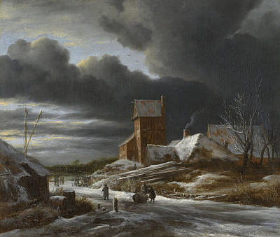 Countryside Painting - Winter Landscape by Jacob van Ruisdael