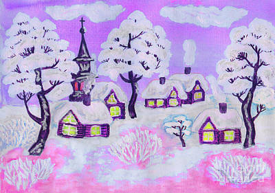 Painting - Winter Landscape On Pink, Painting by Irina Afonskaya