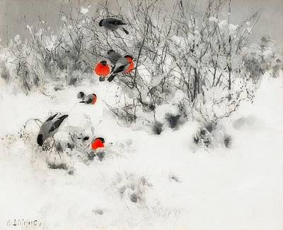 Bullfinch Wall Art - Painting - Winter Landscape With Bullfinches by Bruno Liljefors