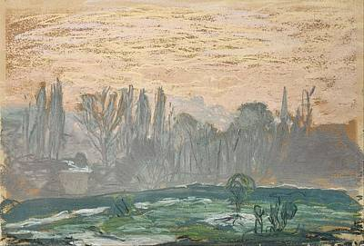 Pastel - Winter Landscape With Evening Sky by Claude Monet