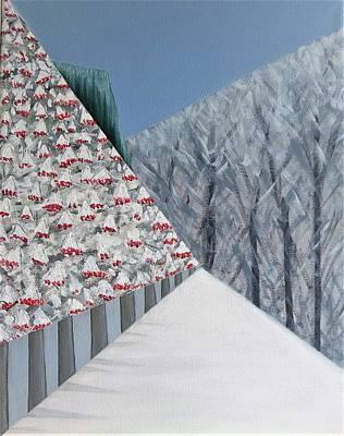 Painting - Winter Landscape With Rowan Trees by Tamara Savchenko