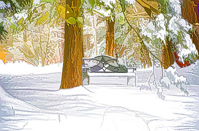 Decorative Benches Painting - Winter by Lanjee Chee