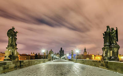 Winter Night At Charles Bridge, Prague, Czech Republic Art Print