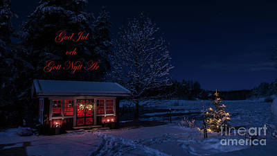 Photograph - Winter Night Greetings In Swedish by Torbjorn Swenelius
