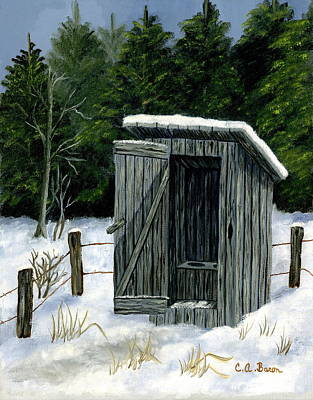 Painting - Winter Outhouse #1 by Charlotte Bacon