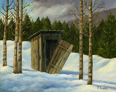 Painting - Winter Outhouse #3 by Charlotte Bacon