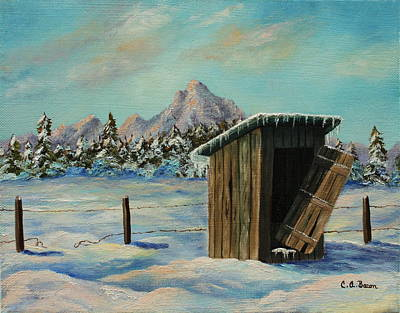 Painting - Winter Outhouse #4 by Charlotte Bacon