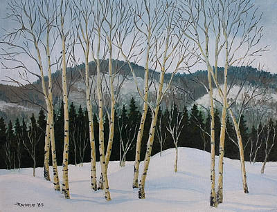 Landscape Painting - Winter Poplars by Richard De Wolfe