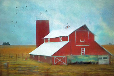 Photograph - Winter Red Barn by Anna Louise