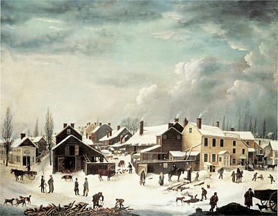 Horse And Buggy Painting - Winter Scene In Brooklyn by Francis Guy