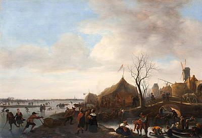 Streetscape Painting - Winter Scene by Jan Steen