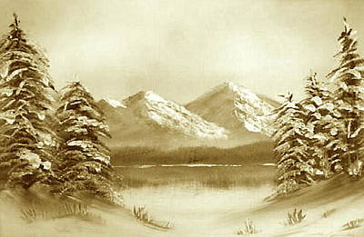 Painting - Winter - Sepia by Roger Cummiskey