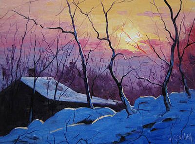Homestead Painting - Winter Sunrise by Graham Gercken