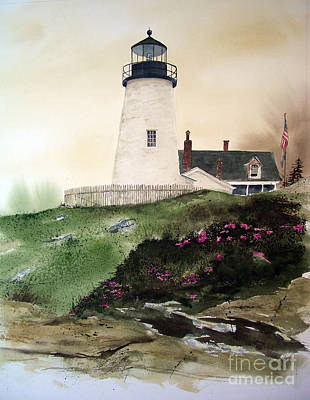 East Coast Lighthouse Painting - Winter Thaw by Monte Toon