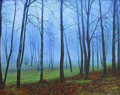 Mystical Landscape Painting - Winter Trees by Conor McGuire