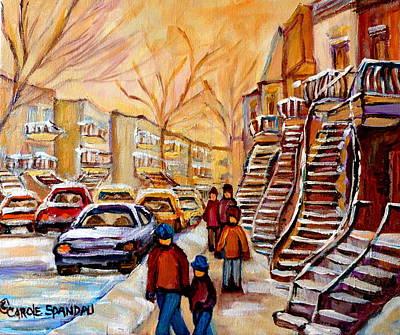 Winter Walk In Montreal Print by Carole Spandau