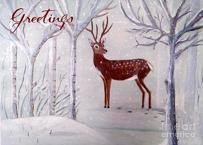Painting - Winter Wonderland Greeting -painting by Veronica Rickard