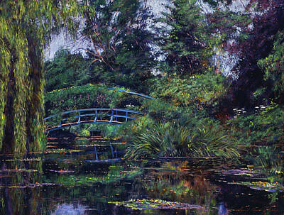 Lilies Royalty-Free and Rights-Managed Images - Wisteria Bridge Giverny by David Lloyd Glover