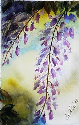 Watercolour Painting - Wisteria by Lucia Del