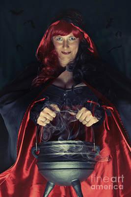 Cauldron Photograph - Witch And Her Cauldron by Amanda Elwell