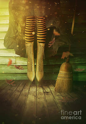 Photograph - Witch's Legs With Broom by Sandra Cunningham
