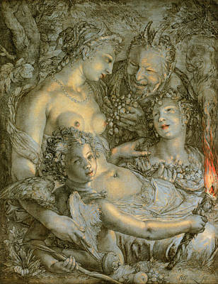 Painting - Without Ceres And Bacchus, Venus Would Freeze by Hendrik Goltzius