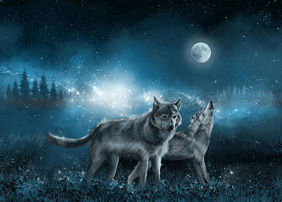 Painting - Wolf In The Moonlight by Bekim Art