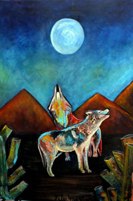 Painting - Wolves Howling At The Moon by Pilar  Martinez-Byrne