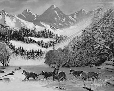 Photograph - Wolves In The Snow by Ed Churchill