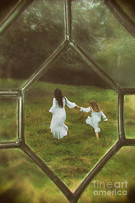 Woman And Child Through Window Art Print by Amanda Elwell