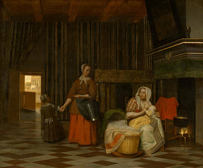 Painting - Woman And Child With Serving Maid by Pieter de Hooch
