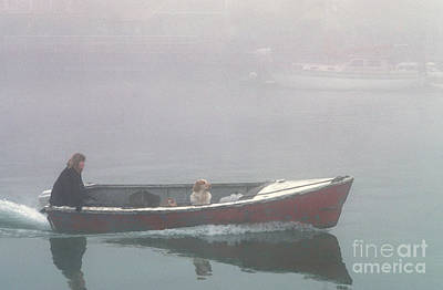 Photograph - Woman And Dog In Boat by Jim Corwin