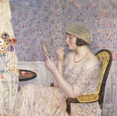 Cloche Painting - Woman At A Dressing Table by Frederick Carl Frieseke