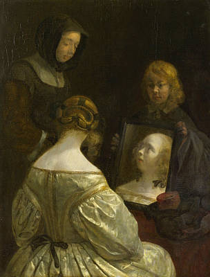 Glass Painting - Woman At A Mirror by Gerard ter Borch