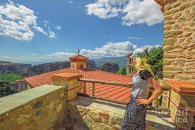 Photograph - Woman At Meteora Monasteries by Benny Marty