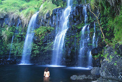 Photograph - Woman At Waterfall by Dave Fleetham - Printscapes